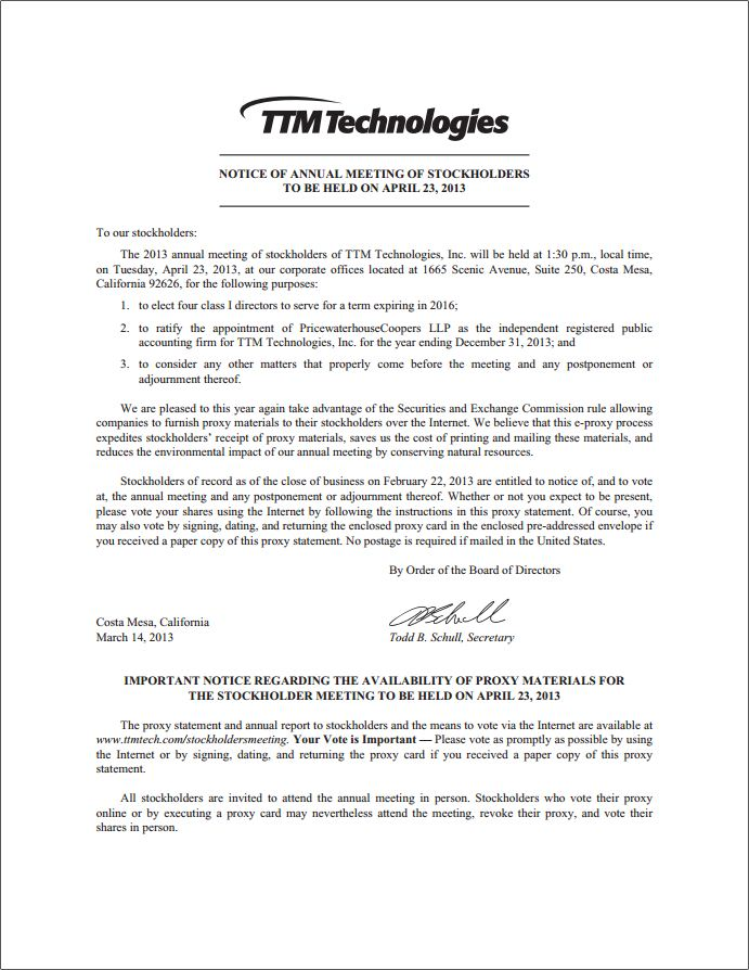 annual reports proxy ttm technologies inc